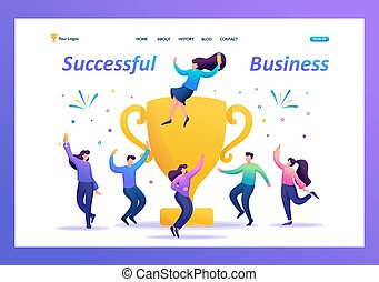 The business team celebrates success. People jump in and enjoy close to with a large Cup. Flat 2D character. Landing page concepts and web design