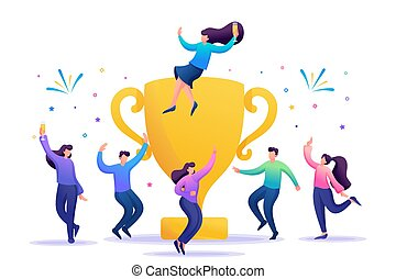 The business team celebrates success. People jump in and enjoy close to with a large Cup. Flat 2D character. Concept for web design