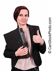 The business woman holds a thumb up