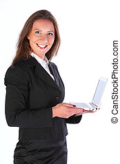The business woman with the laptop