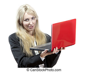 business woman with the red laptop