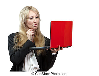 The business woman with the red laptop in hands