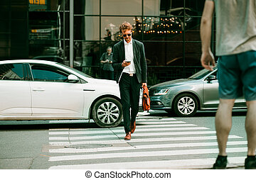 The Businessman Crossing The Road