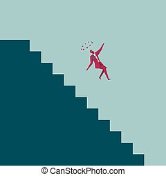 The businessman fell from the ladder. Isolated on blue background.