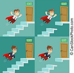 The businessman flying up the stairs. Symbol of ambition, motivation, success in career, promotion. Business concept.