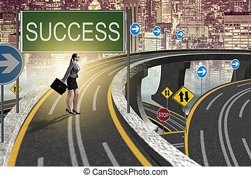 The businessman in business success concept