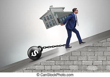 The businessman in mortgage debt financing concept
