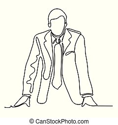 The businessman is leaning on the table. Continuous line...