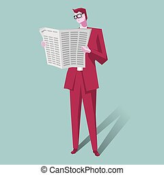 The businessman is reading the newspaper. The background is blue.