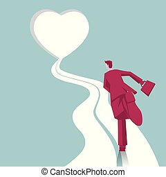 The businessman is running. A road leads to a heart-shaped door.