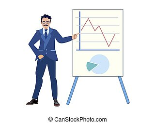 The businessman made a report on the work done, improving performance. Graph chart. In minimalist style. Cartoon flat vector