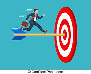 The businessman run to the bulls eye with the dart. Reach the target success. Concept business. Vector illustration in flat style