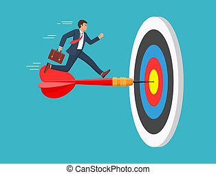 The businessman run to the bulls eye with the dart. Reach the target success. Concept business