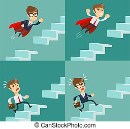 The businessman running up the stairs. Symbol of ambition, motivation, success in career, promotion. Business concept.
