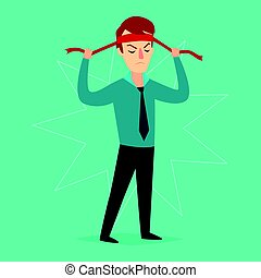 The businessman ties up a bandage on his head. Vector illustration.