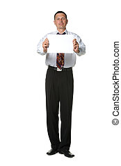 The businessman with the empty form of a paper