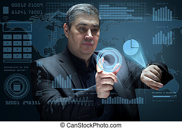 The businessman works with a futuristic virtual interface