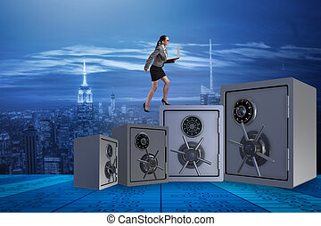 The businesswoman walking on top of safe