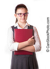 The businesswoman with a folder in hands