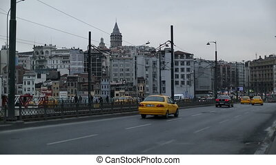 Galata Bridge - the busy city traffic at Galata Bridge...