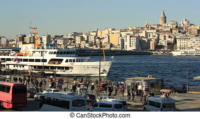 golden horn - the busy city traffic at golden horn Istanbul...