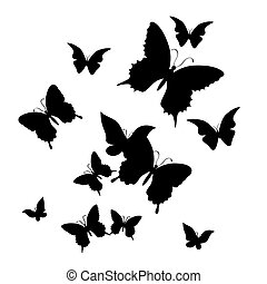silhouette of butterfly on a white background. vector