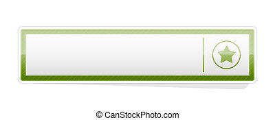 The button with star icon - the illustration of blank green...