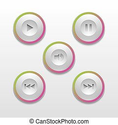 The buttons for media player