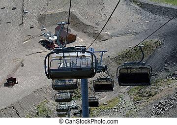 The cabins on the ski resort