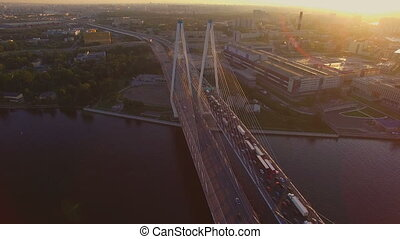 the cable-stayed bridge at sunset