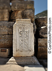 This photograph represent a the Caduceus, universal symbol of medicine inruins of Ephesus, Turkey.