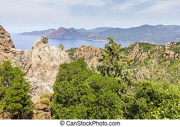 The Calanques de Piana and the sea in Corsica, France