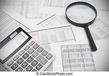 The calculator and magnifier on documents.