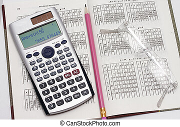 The calculator the pencil and points lie on the table with ...