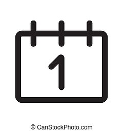 The calendar outline icon isolated on white background