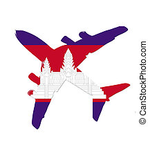 The cambodia flag painted on the silhouette of a aircraft. glossy illustration