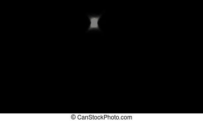 the camera flash on a black background