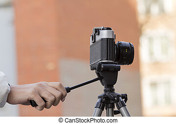 the camera in hands
