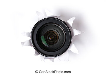 the camera lens in hole
