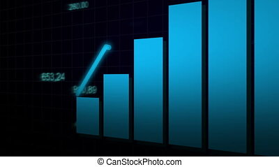 The camera looks at the growing chart on dark blue