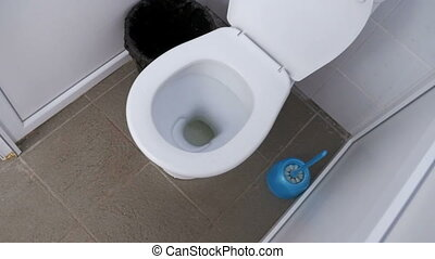 The Camera Moves Inside the Public Toilet. Close-up view...