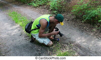 The cameraman shoots small insects on video camera - The...