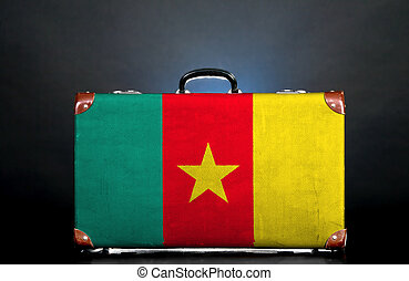 The Cameroonian flag on a suitcase for travel.