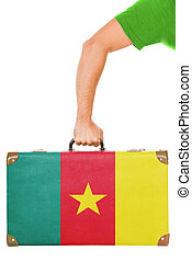 The Cameroonian flag on a suitcase. Isolated on white.