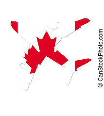 The Canada flag painted on the silhouette of a aircraft. glossy illustration