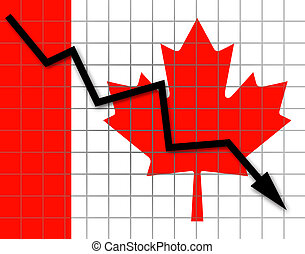 The Canadian flag and arrow graph going down