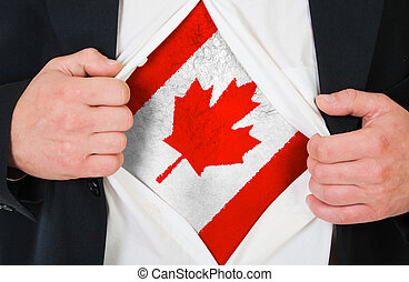 The Canadian flag painted on the chest of a man