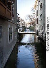 The Canal of Annecy City, France.