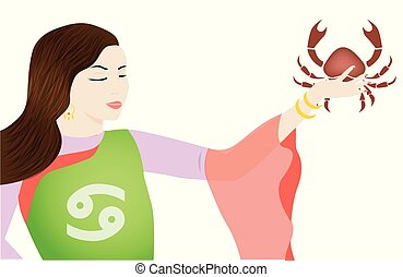 the cancer lady - the illustration with the sign of zodiac -...