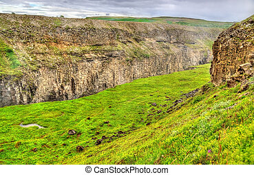 The canyon of Hvita river near Gullfoss Waterfall in Iceland